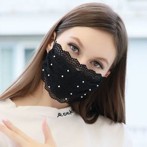Beautiful Black Lace Face Mask with Pearls